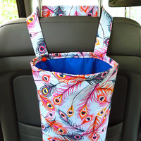 Water Resistant Car Trash Bag/Organizer Caddy for Head Rest Peacock Feather and Blue Lining Washable Car Trash Bag/Waste Bag/Refuse Bag