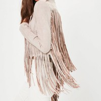 Missguided - Nude Faux Suede Fringe Biker