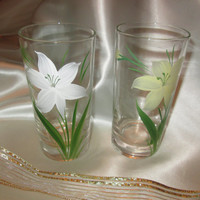 Two Hand Painted White and Yellow Day Lillies on Glasses