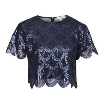 **Scallop Sequin Crop Top by Rare - Blue