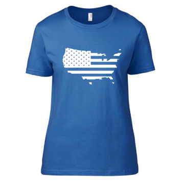 4th of July Independence Day Clothing - US Flag USA Crew Neck - Ladies