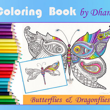 Coloring Book Adult Zentangle Paisley Art, Butterflies Dragonflies Drawing,  Instant Download hand-drawn Coloring pages , Nursery Wall art
