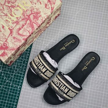 Christian Dior Dway Embroidered Cotton Mule Sandals Black