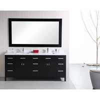 Design Element DEC088 London Dark Espresso 78 Inch Modern Double Bathroom Vanity