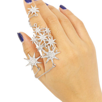 Silver Rhinestone Star Patterned Chain Linked Ring
