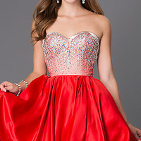 Dresses, Formal, Prom Dresses, Evening Wear: Short Strapless Sweetheart Dress with Jewel Embellished Bodice