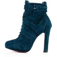 Suede Lace Buckle Boots