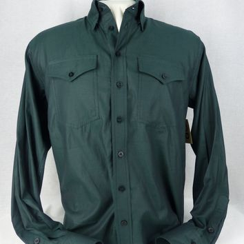 Men's Forest Green Italian Cotton Western Shirt
