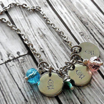 Birthstone Charm Necklace With Hand Stamped Baby Charm And Birthstone  /Stainless Mommy And Baby Necklace / Grandmothers Name Necklace