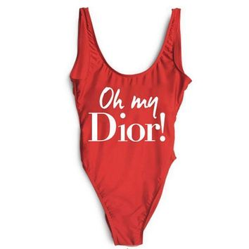 Dior Swimmer Swim Tan Top Vest Shirt V Neck Women Letters Bottoming Clothes-1