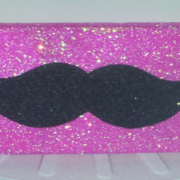 Pink Glitter Mustache iPhone 4 4s Hard Cover Case by kaylafenton