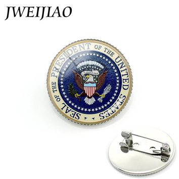 JWEIJIAO Trendy Animal Photo Military Brooch Seal Of The President Of US Army Air Force Insignia Men And Women Jewelry  MI041