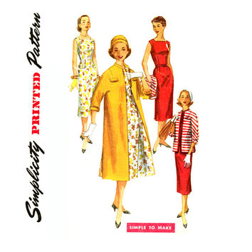 1950s Sheath Dress and Duster Pattern Bust 32 Simplicity 1473 Day Evening Kimono Sleeve Coat Jacket Sleeveless Dress Vintage Sewing Pattern