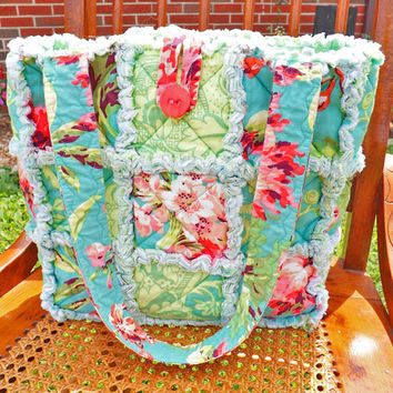 Tropical Colors Rag Tote, Rag Quilt Tote, Floral, Aqua, Green, Pink, Quilted Purse, Rag Quilt Handbag, Handmade Tote