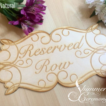Reserved row wedding ceremony sign hanging laser engraved wood rustic elegant decor
