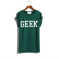 Sun Fashion Women's Roll-up sleeve GEEK PRINT T-Shirt = 1929602052
