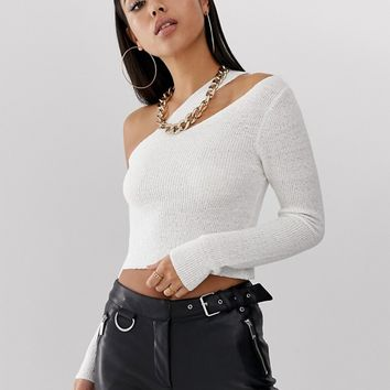 ASOS DESIGN asymmetic knitted top at asos.com