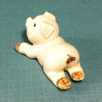 Miniature Ceramic Pig Pork Piglet Laying Animal Cute Little Tiny Small Light Pink Figurine Statue Decoration Hand Painted Collectible Craft