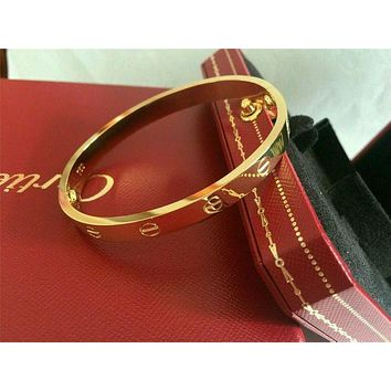 Cartier Stylish Women Men Simple Couple Diamond Bracelets I