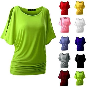 Summer Women 10 Colors Bat Sleeve T-shirt Loose Solid Color Round Neck Short Sleeve Tops Ladies Fashion Blouse Plus Size S-5XL