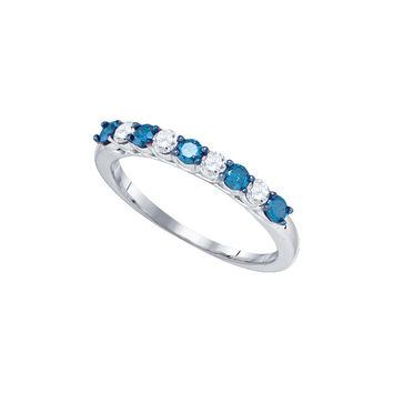 10kt White Gold Womens Round Blue Colored Diamond Band Wedding Anniversary Ring 1/2 Cttw 83305