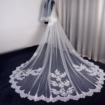 Eyelash Lace Bridal Veil With Blusher Long Wedding Veil with Metal Comb Attached