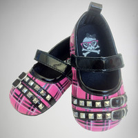 Baby Pink and Black Plaid Mary Jane Shoes
