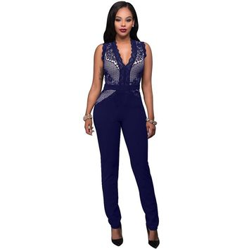 Women Casual New Fashion Full Length Jumpsuit Sleeveless Lace Overalls Sexy Jumpsuits Party Rompers