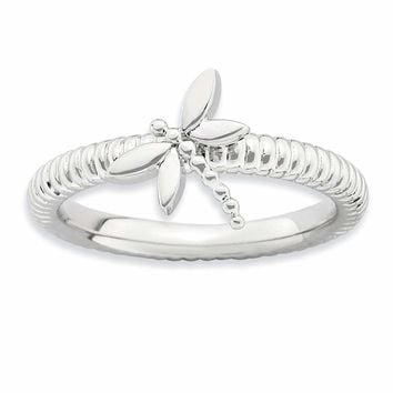 Sterling Silver Stackable Expressions Dragonfly Ring