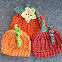 Crochet Pattern for Pumpkin Beanie Hat - 5 sizes, baby to adult - Welcome to sell finished items