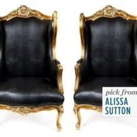 One Kings Lane - Get the Look - French Faux-Croc Chairs, Pair