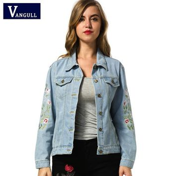 Trendy Embroidered short denim jacket women 2017 Spring Autumn Winter ladies long sleeve jacket coat Fashion female jean jacket outwear AT_94_13