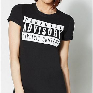 Parental Advisory Explicit Content T Shirt - Spencer's