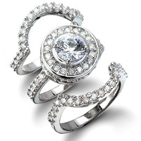 CZ Wedding Set - Cybill's Antique Style Three Ring