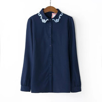Embroidered Collar Long-Sleeve Cutton Shirt