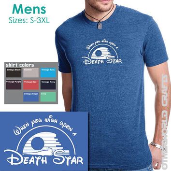 When You Wish Upon a Death Star - Mens TriBlend Crew Neck Tee - Star Wars Disney