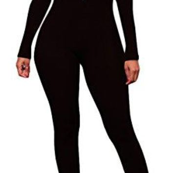 Jumpsuits For Women, Sexy Long Sleeve V Neck Backless Stretchy Rompers Bodysuits With Zipper Reversible Style