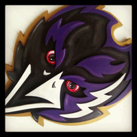 Large CAW CAW 3D Baltimore RAVENS  Football sign Logo Wooden  Plaque 24x12  Layered Wood Wall