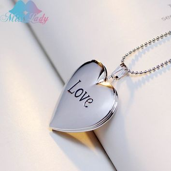 Miss Lady  locket pendant necklace Photo Frame pendant Gold Silver Love Letter locket necklace jewelry necklace gifts MLY60N