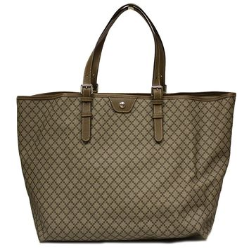 Gucci Diamante Supreme Canvas and Brown Leather Large Unisex Tote Bag 295250