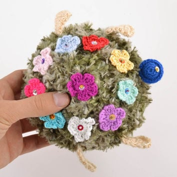 Handmade soft toy crochet of natural wool amigurumi Turtle with Flowers gifts