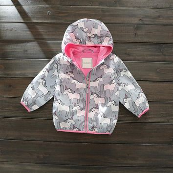 Children's Hooded Unicorn-Print Coat (12mos - 8T)