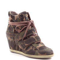Ash Bea Camo Leather Wedge Sneakers