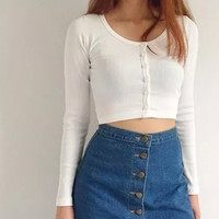 Long Sleeve Single-Breasted Knitted Crop Sweatshirt