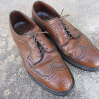 60s Hy-Test Wingtip Oxford Safety Shoes, Men's US 10C EUR 43 UK 9,5 // Cognac Brown Leather Brogue Dress Shoes // Longwing Gunboats