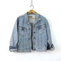 Washed out Denim Jean Jacket Fall Denim button down Coat Pockets Hipster Cropped jacket women's size Medium