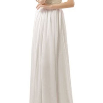 Silky Waistband One Shoulder Soft A-Line White Dress