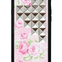 Pink Lace Floral Silver Studded Pyramid iPhone 6 Case