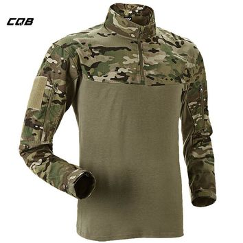 CQB Outdoor Sports Tactical Military Hiking Camouflage Shirt Patchwork Coolmax Quick Dry Breathable Elastic Cloth for Camping