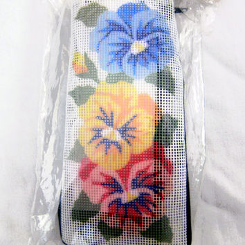 Pansy Needlepoint Eyeglass Holder Kit Complete New In Package Vintage Eyeglass Case Floral Theme